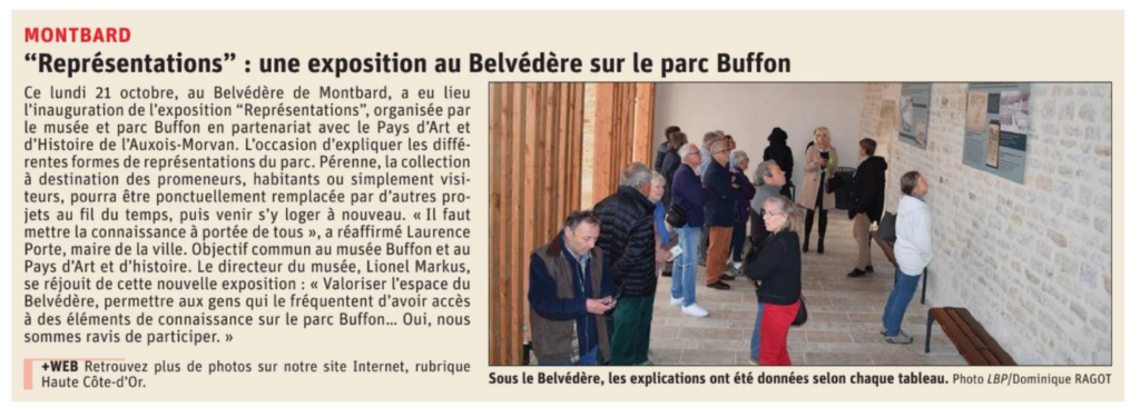 Article de presse : une exposition au Belvédère sur le parc Buffon